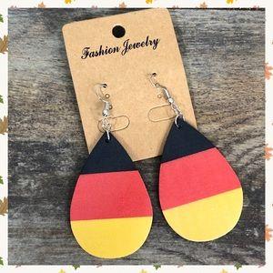 candy corn faux leather drop earrings